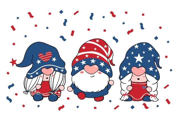 Nettes drei-trio-gnome-unabhängigkeitstag 4. juli gnome patriotisch in den roten und blauen karikaturillustrations-gekritzelcliparts