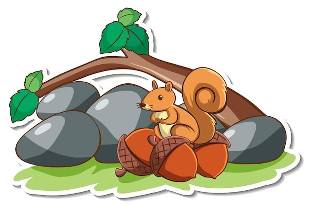 Nettes eichhörnchen, das auf einem zweigaufkleber steht