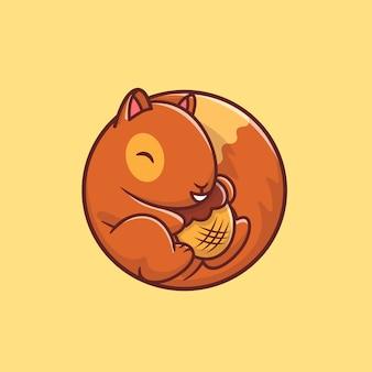 Nettes eichhörnchen, das eichelnuss-karikaturillustration hält. tierfutter-symbol-konzept