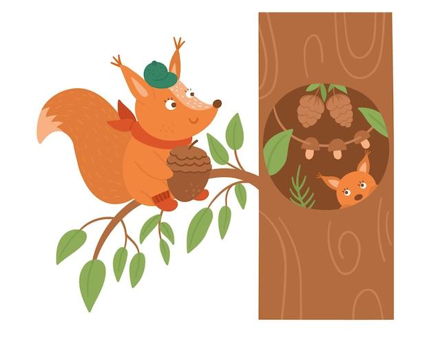 Nettes eichhörnchen mit eichel, das auf einem baum nahe der höhle sitzt. waldtier im herbst