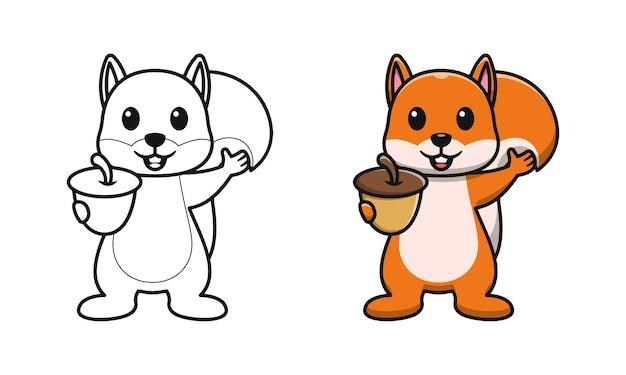 Nettes eichhörnchen mit nüssen cartoon malvorlagen für kinder