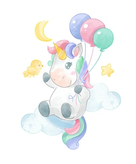 Nettes einhorn, das auf bunte luftballons illustration fliegt