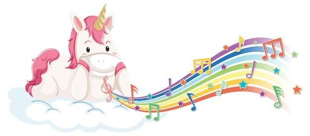 Nettes einhorn, das auf der wolke mit melodiesymbolen auf regenbogen liegt