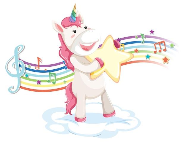 Nettes einhorn, das auf der wolke mit melodiesymbolen auf regenbogen steht