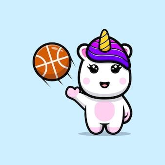 Nettes einhorn, das basketballmaskottchenentwurf spielt