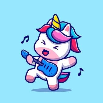Nettes einhorn, das gitarrenkarikatur spielt. flacher cartoon-stil