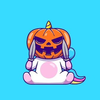 Nettes einhorn, das halloween-kürbismaske trägt