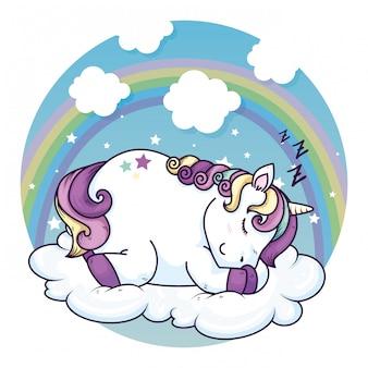 Nettes einhorn, das im wolken-kawaii-stil schläft