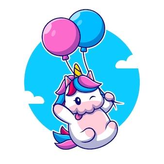 Nettes einhorn, das mit ballon-karikatur-symbol-illustration fliegt. tierliebesikonen-konzept isoliert. flacher cartoon-stil
