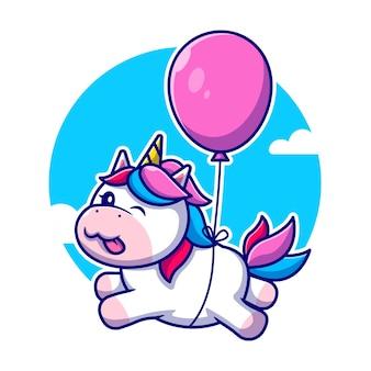 Nettes einhorn, das mit ballon-karikatur-symbol-illustration schwimmt. tierliebesikone isoliert. flacher cartoon-stil