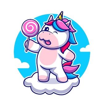 Nettes einhorn, das süßigkeit auf wolkenkarikatur-symbolillustration hält. tier naturikone isoliert. flacher cartoon-stil