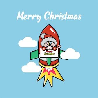 Nettes einhorn, das weihnachten auf einer fliegenden rakete feiert
