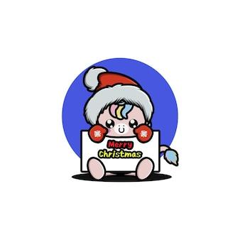 Nettes einhorn, das weihnachten feiert