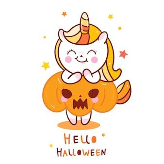 Nettes einhorn halloween mit kürbis-cartoon