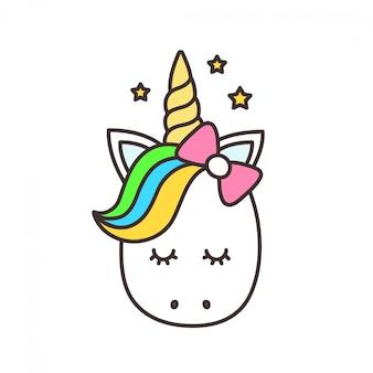 Nettes einhorn, karikaturcharakterillustration. design für kinder t-shirt. mädchen, kind. magisches konzept. isoliert