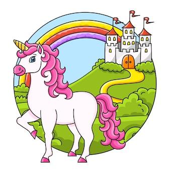 Nettes einhorn magisches märchenpferd landschaft mit einem schönen schloss