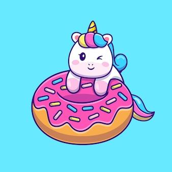Nettes einhorn mit donut-karikatur