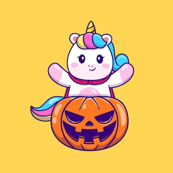 Nettes einhorn mit halloween-kürbis-karikatur