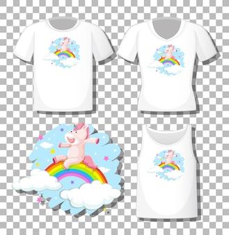 Nettes einhorn mit regenbogen-zeichentrickfigur mit satz verschiedener hemden lokalisiert