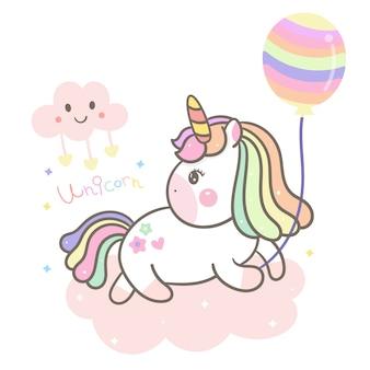 Nettes einhorn, pony, das ballon hält