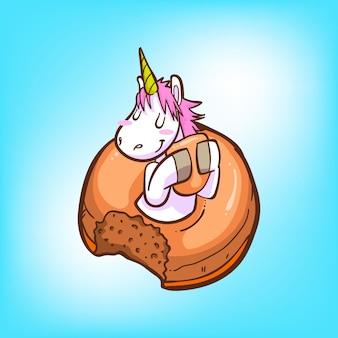 Nettes einhorn und donuts