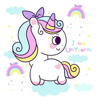 Nettes einhornkarikatur-kawaii pony-tier mit regenbogen. handgezeichnete illustration