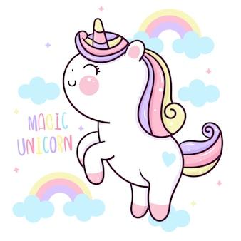 Nettes einhornkarikatur-magisches regenbogen-kawaii-pony