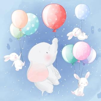 Nettes elefant- und häschenfliegen mit ballon