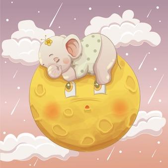 Nettes elefantbaby, das auf dem mond schläft
