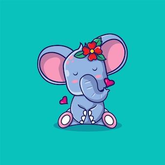 Nettes elefantenmädchen mit blumenkarikaturillustration
