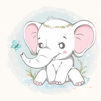 Nettes elefantenspiel mit gezeichneter schmetterlingskarikaturhand