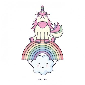 Nettes entzückendes einhorn mit wolken und regenbogen