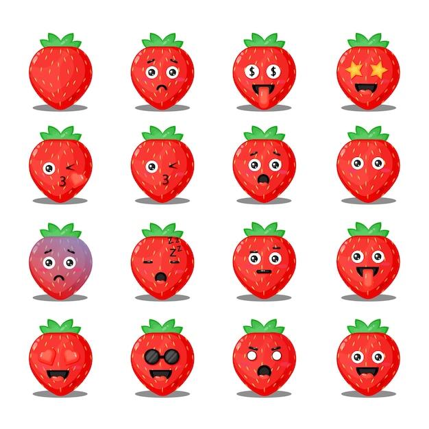 Nettes erdbeerset mit emoticons