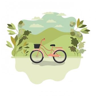 Nettes fahrrad mit landschaft lokalisierter ikone
