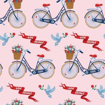 Nettes fahrradmuster mit tauben und blumen