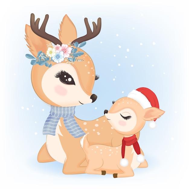 Nettes familienhirsch mit weihnachtsmütze