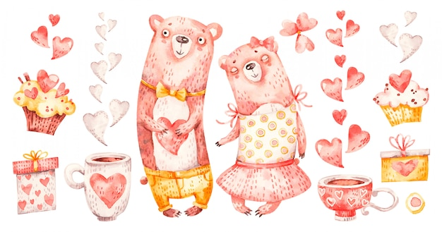 Nettes familienpaar umarmt bären. aquarell kinderzimmer cartoon liebe romantische tiere bär, herzen, geschenke. entzückender liebesfamiliensatz
