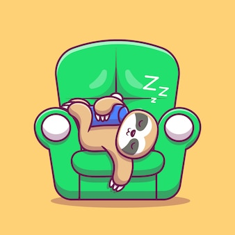 Nettes faultier, das auf couch cartoon icon illustration schläft. animal icon concept isolated premium. flacher cartoon-stil