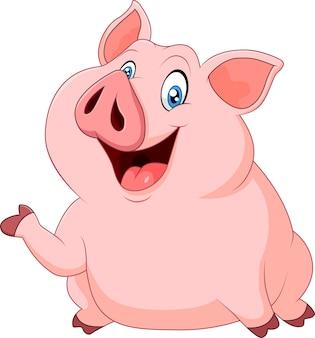 Nettes fettes schweindarstellen lokalisiert auf weißem hintergrund