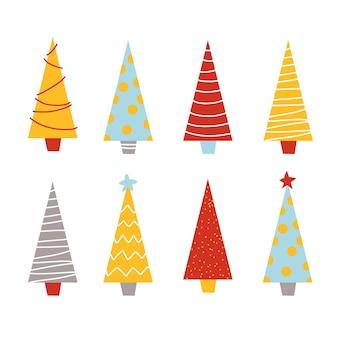 Nettes flaches design von weihnachtsneujahrsfichtenkiefern