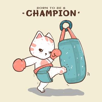 Nettes flaches vektorkatzenboxen, das einen sandsack tritt, geboren, um ein champion zu sein
