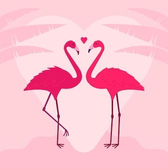 Nettes flamingo-paar zum valentinstag