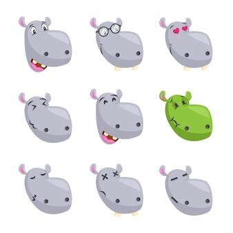 Nettes flusspferd-gesichts-emoticon emoji-ausdruck-illustration