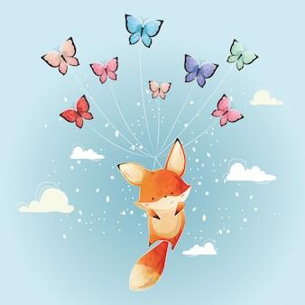 Nettes foxy fliegen mit schmetterlingen
