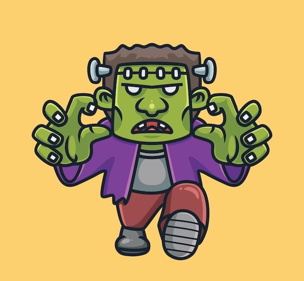 Nettes frankenstein-zombie-cartoon-halloween-konzept isolierte illustration flat style