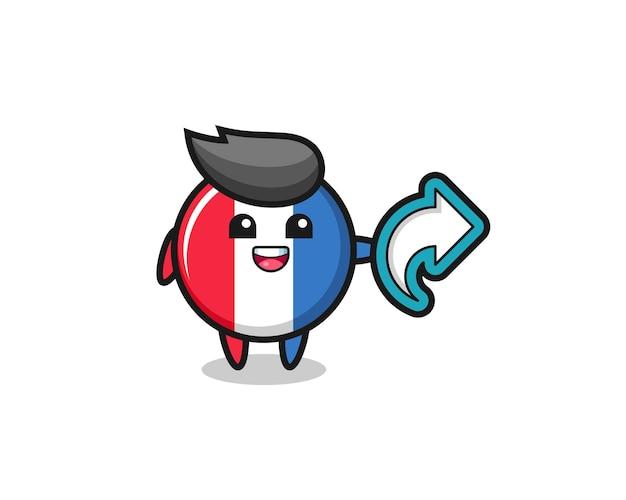 Nettes frankreich-flaggenabzeichen halten social-media-freigabesymbol, niedliches design für t-shirt, aufkleber, logo-element