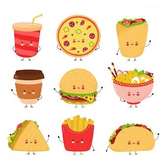 Nettes fröhliches fast-food-zeichenset. auf weißem hintergrund isoliert. hand gezeichnete artillustration der zeichentrickfigur
