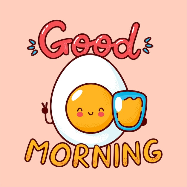 Nettes fröhliches gekochtes ei mit orangensaftglas. flache linie karikatur kawaii zeichensymbol. hand gezeichnete artillustration. guten morgen karte, ei und saft poster konzept
