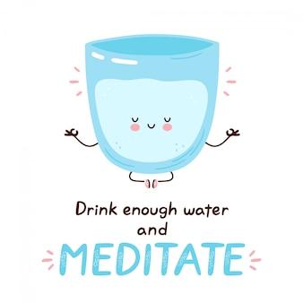 Nettes fröhliches lustiges wasserglas meditieren.