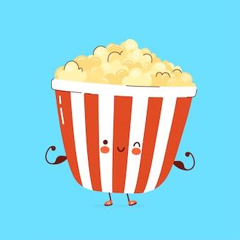 Nettes fröhliches popcorn zeigen muskelcharakter.